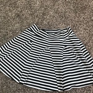 Black and white stripe mini skater skirt